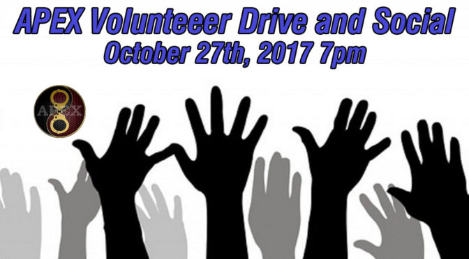 October 27th: APEX Volunteer Drive and Social 7pm-9pm